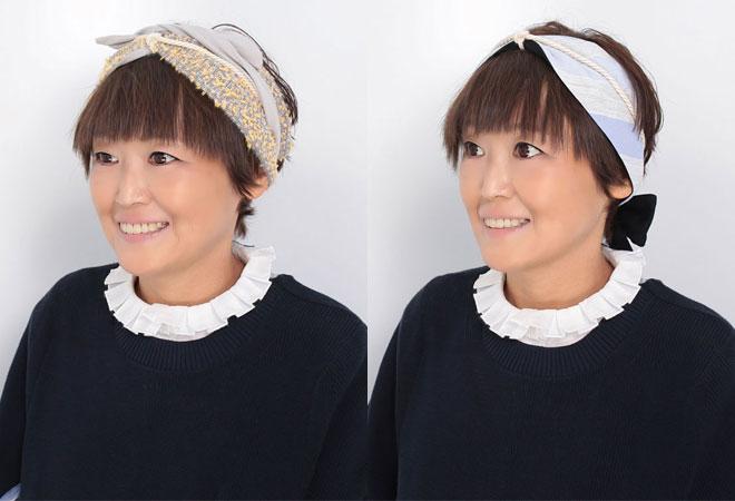 前髪ウィッグを使用したヘアバンドスタイル